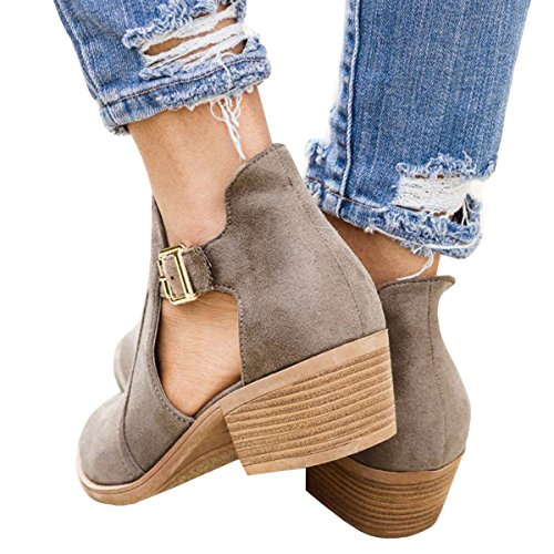 Heel Toe Cut Womens Buckle Chelsea Low Ankle Pointed Booties Out Ofenbuy Chunky Boots Purple Light nqv84ZwZ5x