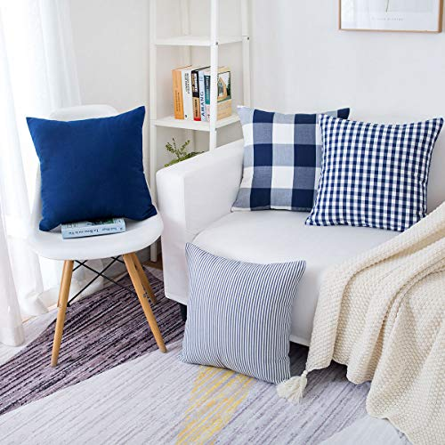 illow Covers Tartan Checkers Plaid Striped Cotton Linen Throw Pillow Case Decorative Cushion Cover for Home Sofa Couch 18 x 18Inch, Blue and White ()