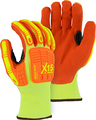 - Majestic X-15 35-557Y Cut & Impact Resistant Glove with Double Sandy Nitrile Coating Size XL (1 pair)