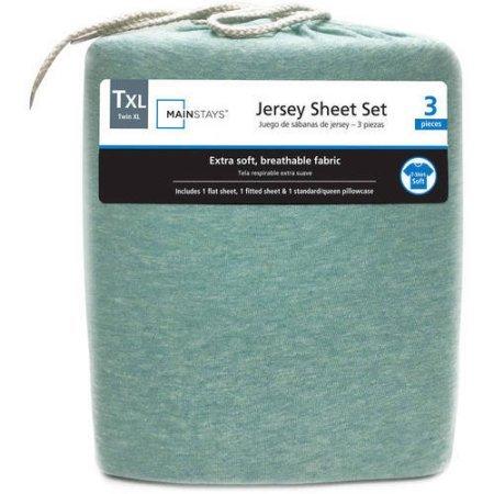 Mainstays Jersey Knit Sheet Set Mint Heather, Queen (Jersey Knit Bed Sheets)