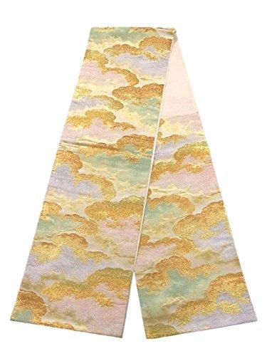 クリップ蝶変な日付リサイクル 袋帯 雲文 幾何学模様 正絹 六通