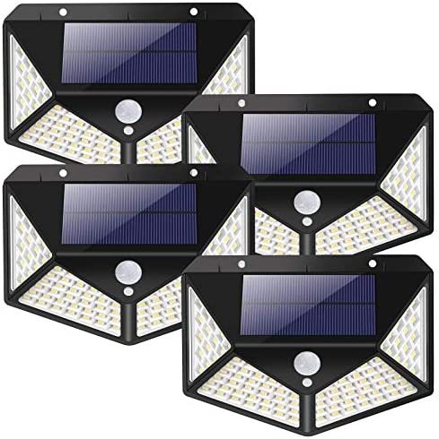 Solar Lights Outdoor Motion – BS ONE 2200mAh Large Capacity Battery 100 LED Solar Wall Lights IP65 Waterproof 3 Lighting Modes for Garden,Fences,Front Door,Back Yard,Garage,4 Pack