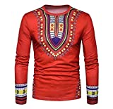 Doufine Men's Tops Spell Color Dashiki African Print Folk Style T-shirts Red S