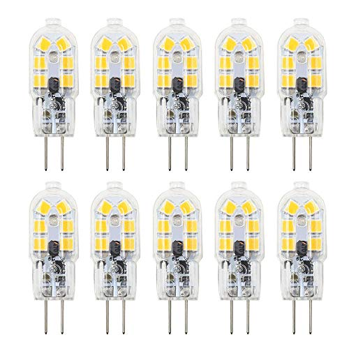 (Dayker 2W G4 LED Bi Pin Bulb Jc Type G4 Base Lightbulb AC/DC 12V Warm White for Under Counter Lighting, Puck Lighting, Ceiling Lighting(10 Pack))