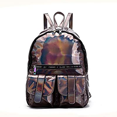 New! Cowgirl Trendy Dual Pocket Hologram Backpack w/Multi Color Zippers