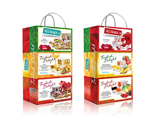 Turkish Delight Variety Gift Set Assorted Flavors Pomegranate Mix Nuts Melon Watermelon Pineapple Rose Pistachios Honey Almond Apricot Apple Strawberry Mulberry Six box set Total 600 Grams 1.4 Lb (Delights Large Gift Box)