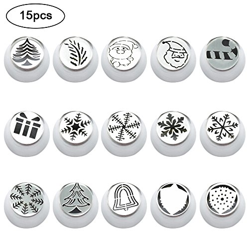 Cake Decorating Set,FOME 15 PCS Set Christmas Series Icing Nozzles Russian Stainless Steel Decorating Tips Molds Cupcake Pastry DIY Baking Tools Decoration Kit for Cakes Cupcakes and Cookies by FOME