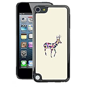 A-type Arte & diseño plástico duro Fundas Cover Cubre Hard Case Cover para Apple iPod Touch 5 (Minimalist Colorful Watercolor Reindeer)