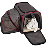 Petsfit Carrier Expandable Cozy Cat Carrier, Expandable Pet Carrier, Pet Carrier Most Airline Approved, Soft Sided Pet Carrier Grey 48cm Lx30cm Wx30cm H