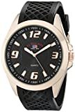 U.S. Polo Assn. Sport Men's US9122 Black Textured Strap Analog Watch