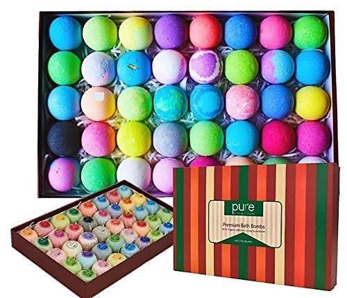 (Bath Bomb Natural Gift Set for Men, Women and Kids. Individually Wrapped Lush Bath Bombs Infused With Essential Oils (40 Count))