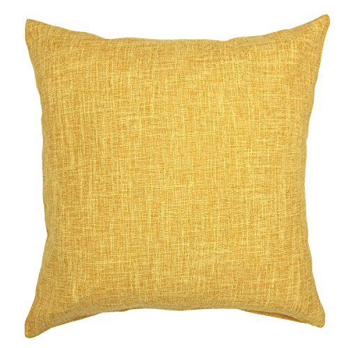 YOUR SMILE Solid Color Cotton Linen Decorative Throw Pillow Case Cushion Cover Pillowcase for Couch Sofa Bed,18 X 18 Inches,Dark Yellow