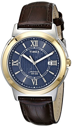 Timex Men's T2P5219J Main Street Two-Tone Stainless Steel Watch with Brown Leather (Brown Dress Leather Watch Band)