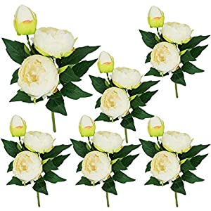 Lily Garden 6 Stems Artificial Peony Silk Flowers (Ivory) 67