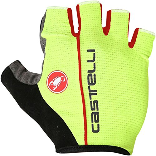 Castelli Mens Bike Glove - Castelli Circuito Glove - Men's Yellow Fluo/Red, L