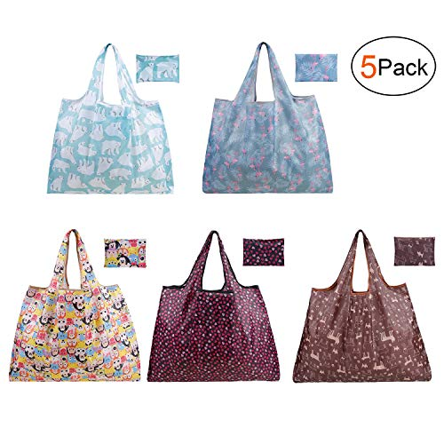 Reusable foldable shopping Grocery bags with Pouch Attached,lightweight,waterproof and washable eco friendly bags (5pcs, Large)
