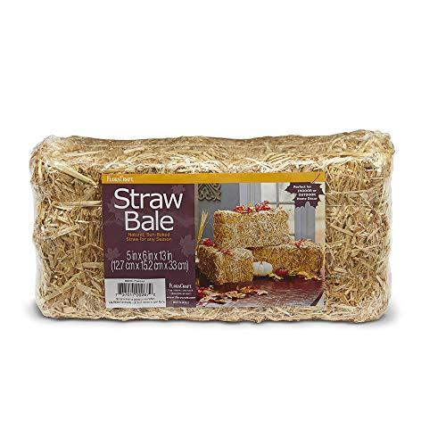 FloraCraft Decorative Straw Bale 5 Inch x 6 Inch x 13 Inch -