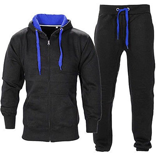 (OOPS OUTLET Men's Gym Contrast Jogging Full Tracksuit Hoodies Fleece Joggers Set Small Black/Royal Blue)