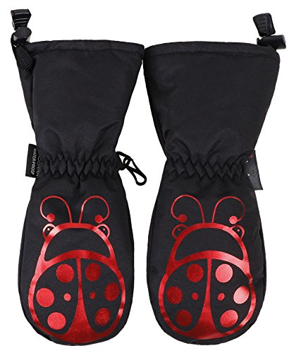 ANDORRA Kids Premium Weather-proof Thinsulate Snow Mittens, Ladybird Print,XS,Black/Ladybird