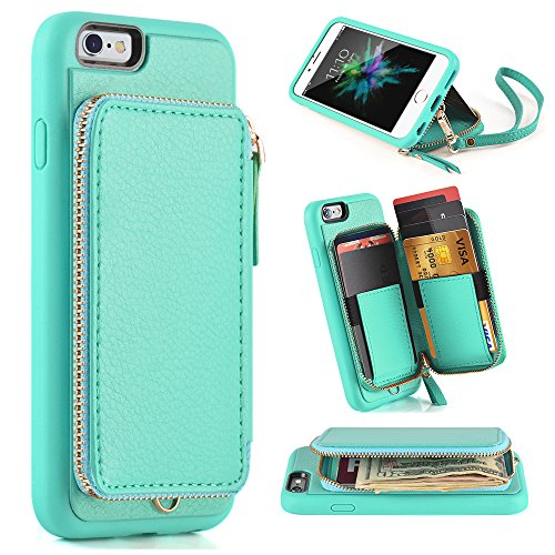 iphone 6 Wallet Case, iphone 6s Leather Case, ZVE Apple iphone 6 Case with Credit Card Holder Slot Protective Leather Wallet Case Handbag Case Cover for Apple iphone 6 / 6S 4.7 inch - (Iphone Wallet Case)