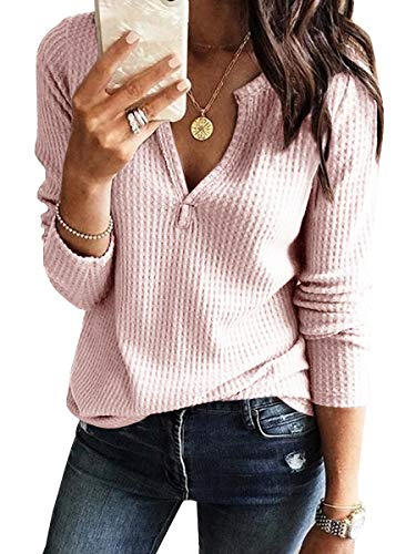 - Womens V Neck Shirts Long Sleeve Waffle Knit Loose Fitting Warm Tee Tops (Large, Pink)