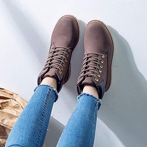 Mode Rond Courtes À Pour Chaussures Qhj Épais Bottes Lacets Solide Cheville Marron Décontracté 40 Filles Rétro Femmes Bout Camouflage 7xIzzgP