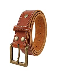 NPET BZ050 Men's Full Grain One Piece Double Stitched Genuine Leather Belts 38mm light brown 32-34