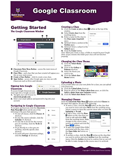 Google Classroom Quick Source Reference Guide