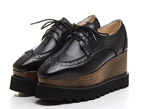 Beauqueen Plataforma del elevador de las bombas Almendra en forma de dedo del pie Oxford Lace-Up 2017 Primavera Verano Moda Casual zapatos de oficina Europa Tamaño 34-39 Black