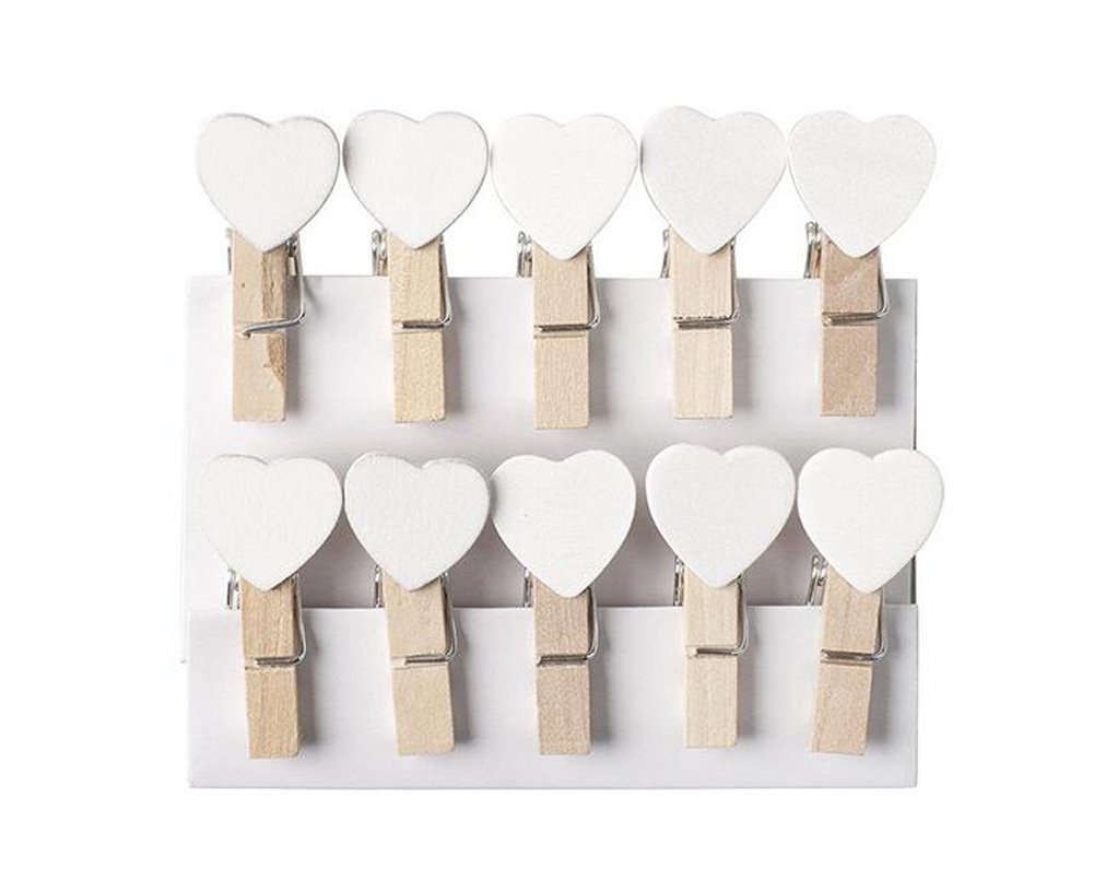 Mini Wooden Heart Pegs Clips Message Photo Holder Card Paper Pegs Decor Photography Clothespins Photo Postcard Peg Wedding Decor Craft Clip Pack of 10 erioctry