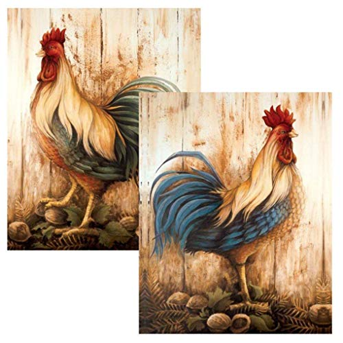 wallsthatspeak Vintage Rooster Art Prints, Farmhouse Country Wall Decor, Fall Decorations, Two 8x10 Prints