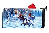 Magnetic Mailbox Cover - Horses Running Through Snow Outdoor Vinyl Mailbox Wrap, Post Box Covers Standard Sized