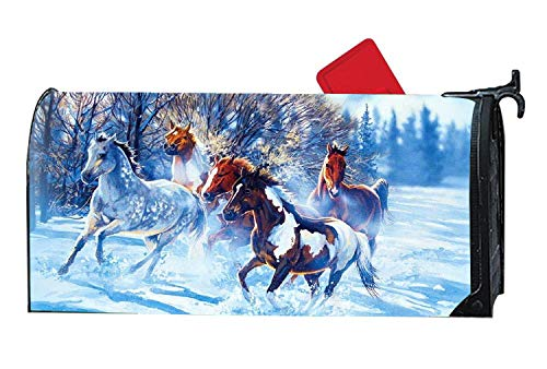 Magnetic Mailbox Cover - Horses Running Through Snow Outdoor Vinyl Mailbox Wrap, Post Box Covers Standard Sized by Greatmailboxcoverhot