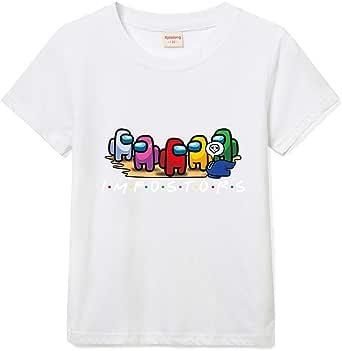Among Us - Camiseta de niño con cuello redondo y estampado de niña de manga corta