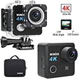 WiMiUS 4K 20MP WiFi Action Camera 30m Waterproof 170 Degree Wide Angle Sports Cam with 2 Rechargable Batteries,Mounting Accessories and Portable Bag,Black