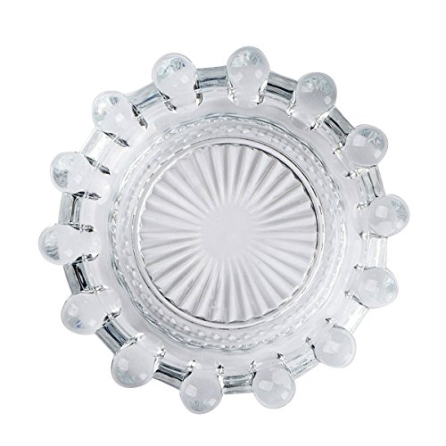 YXQ Glass Ashtray, Round Crystal Heavy Smoke for Cigar Cigarettes Collectible Holder Tribal Tabletop Tray Outdoor Outside Home Decoration ()
