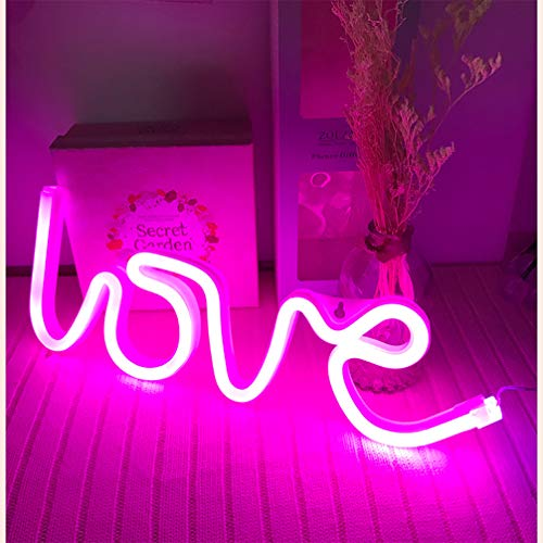 - Hopolon Love Neon Signs, LED Neon Light for Party Supplies, Girls Room Decoration Accessory, Table Decoration, Children Kids Gifts (Pink Love)
