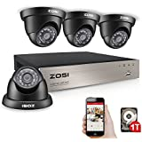 ZOSI 8 Channel 1.0MP Security Camera System 720P CCTV DVR and (4) 1280TVL Outdoor Indoor surveillance Cameras with 65ft night vision, 1TB Hard Drive, Remote Access