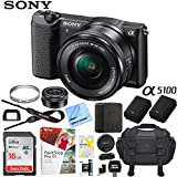 Sony a5100 Alpha Mirrorless Digital Camera 24MP DSLR (Black) w/ 16-50mm Lens ILCE-5100L/B with Extra Battery Case + Sandisk Ultra SDHC 16GB UHS Class 10 Memory Card Bundle