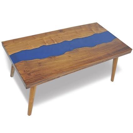 Luckyfu Ce Table Caffsono En Bois De Teck Et Résine 100 X 50 X 40 Cm
