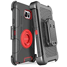 Samsung Galaxy Note 5 Case, Note 5 Case with Stand, BENTOBEN Shockproof Heavy Duty Hybrid Full Body Rugged Holster Protective Case With Kickstand and Belt Clip for Samsung Galaxy Note 5 - Black and Red