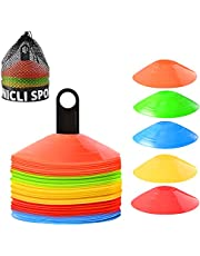 UNICLI Sports Soccer Cones Training Equipment - Agility Cones with Stylish Mesh Bag and Holder for Sports - Set of 50 Field Cone Markers