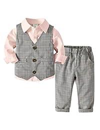 Happy Cherry Boys Cotton Gentleman Outfits Suits Soft Formal Vest Suits 4 Piece Suit Set with White Shirt Pants Bow Ties