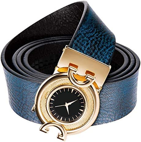 UYY Fashion Gold Buckle Blue Belt Men Real Genuine Leather