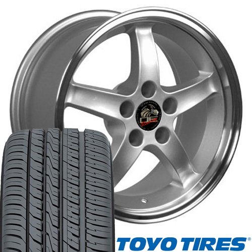 OE Wheels 17 Inch Fit Ford Mustang Cobra R Deep Dish Silver Mach'd Lip 17x9 Rims Toyo Proxes 4 Plus Tires SET