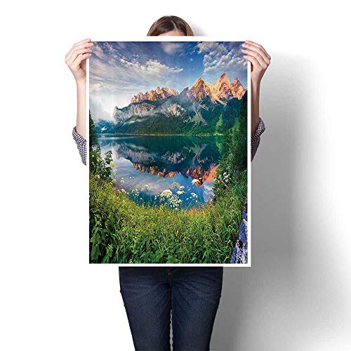 Wall Paintings Sunny Summer Morning The Lake Austrian Alps Crystal Mirroring Water iry Sea Modern Wall Art for Living Room Decoration,16
