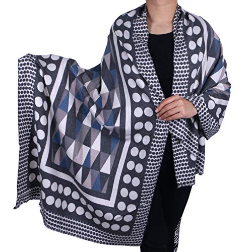 - Oversized Large Cashmere Cotton Polka Dot Pattern Shawl Wrap Scarf For Women (Dark Grey Polka Dot)