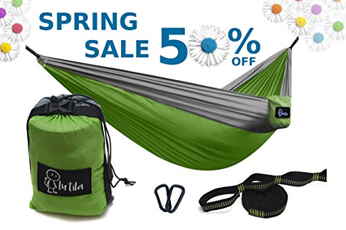 Lutila Double Camping Hammock- Lightweight PREMIUM Ripstop Nylon Hammock with Tree Straps and Carabiners (Material Ripstop Nylon)