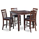 East West Furniture EAWE5-MAH-LC 5-Piece Counter Height Table Set, Mahogany Finish For Sale