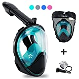 Swim Mask For Women - Men - Kids with Removable Cam Mount & Optical Full Face Design. Fog Resistant Swimming Snorkel Mask - Green L/XL